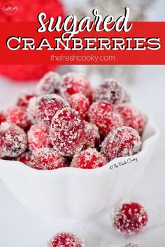 Have you tried sugared cranberries or candied cranberries, regardless of what you call them — they're the perfect sparkling garnish to many a holiday dish or cocktail. Via The Fresh Cooky Holiday Cocktails, Christmas Desserts, Christmas Side, Christmas Dinners, Fall Drinks, Christmas Drinks, Christmas Cooking, Craft Cocktails, Mini Desserts