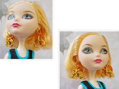 Doll Jewelry,  Doll Earrings, Doll Gold Bat Earrings, Ever After High Bat MOP…