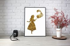 Alice In Wonderland and Cheshire Cat Gold Glitter Silhouette Print Disney Wall Art - Instant Download by 3SixteenDesign on Etsy Disney Wall Art, Playroom Decor, Cheshire Cat, Alice In Wonderland, Handmade Gifts, Nursery Ideas, Gold Glitter, Silhouette, Etsy