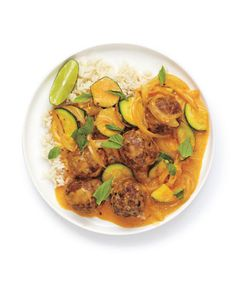 Red Curry Meatballs: Store-bought red curry paste and coconut milk give instant depth and Thai flavor to this fragrant meal.