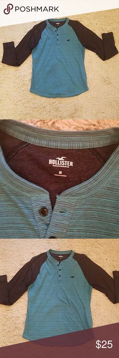 Hollister Men's Colorblock Long Sleeve Henley Worn once, excellent condition. Size Medium, Men's. Blue/Navy (arms) combo color. 3 buttons.  Fast shipping. Please use offer button to purchase. Hollister Shirts Tees - Long Sleeve