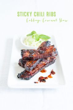 Sticky Chili Ribs with honey lime hoisin marinade and Chinese cabbage with coconut lime dressing.