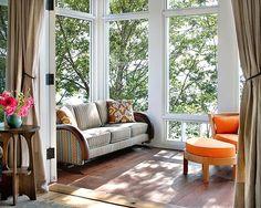 Orange Ottoman | Colorful Porch | Sun Room | Home Design | Outdoor | Patio | Living