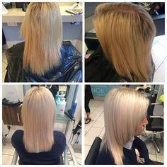 Full head of highlights with olaplex and one length cut with a smooth blowdry