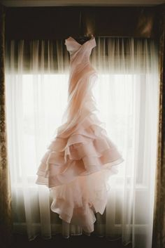 Always loved this idea - wedding dress photo shoot. Blush pink wedding gown by MXM Couture. The Wedding Scoop Spotlight: Coloured and Non-white Wedding Dresses Non White Wedding Dresses, Rose Gold Wedding Dress, Structured Wedding Dresses, Structured Gown, Wedding Robe, Pink Wedding Gowns, Couture Wedding Gowns, Pink Gowns, Tulle Wedding