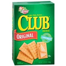 Keebler Club crackers (plain only) - IMPORTANT: Please read ingredient labels. Manufacturers continually change packaging and processing.