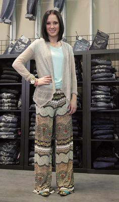 Boho Chic! <3 So cute,   New patterned Palazzo pant! $19.99