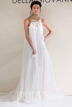 """Brides: Della Giovanna - Fall 2015. """"Alexandria"""" sleeveless pleated silk organza sheath wedding dress, with """"Ziva"""" chain necklace, Della Giovanna"""