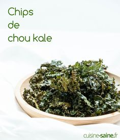 Chips de chou Kale au four - Emmit Kale Recipes, Vegetarian Recipes, Healthy Recipes, Snacks To Make, Easy Snacks, Lectin Free Foods, Homemade Chips, Kale Chips, Gluten