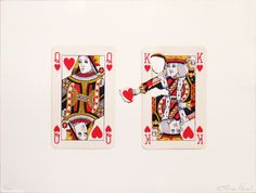 """""""Queen of Hearts,"""" by Elmo Hood -- Print for sale at click-through. -- Hood has done some amazing work, but my favorites by far are his playing card pieces; see more of them here: https://www.facebook.com/ElmoHood/photos_stream"""
