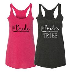 The Bride or The Bride's Tribe Tri-Blend Lightweight Racerback Tank #beforetheidos #bridesmaid #bride #weddingtank https://www.etsy.com/listing/231271852/the-bride-or-the-brides-tribe-tri-blend?ref=shop_home_active_1