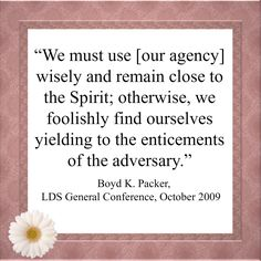 """We must use [our agency] wisely and remain close to the Spirit; otherwise, we foolishly find ourselves yielding to the enticements of the adversary."" ~Boyd K. Packer"