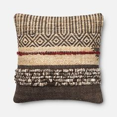A mixed-media pillow woven from earthy jute and wool adds a perfectly rustic touch to your jute, wool with polyester fill.By Loloi; White Decorative Pillows, Rustic Pillows, Diy Pillows, Accent Pillows, Toss Pillows, Weaving Techniques, Handmade Home, Bunt, Hand Weaving