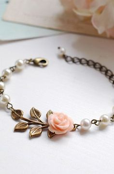 Peach Pink Flower Brass Leaf Ivory Cream Pearls Bracelet
