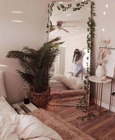 Cute Bedroom Ideas, Cute Room Decor, Room Ideas Bedroom, Bedroom Inspo, Cozy Bedroom, Hippy Bedroom, Bedroom Designs, Bedroom Corner, Comfy Room Ideas