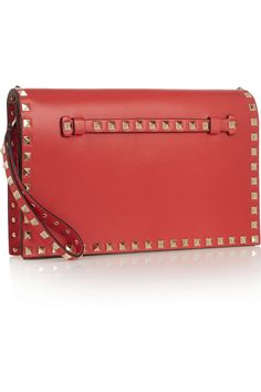 Valentino | The Rockstud leather clutch | NET-A-PORTER.COM