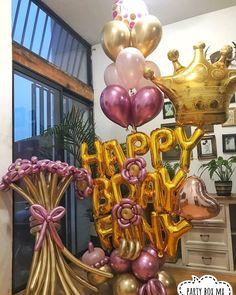 Balloon Gift, Balloon Wall, Balloon Garland, Birthday Balloon Decorations, Birthday Balloons, Paper Decorations, Flower Bouquet Diy, Gift Bouquet, Balloon Flowers