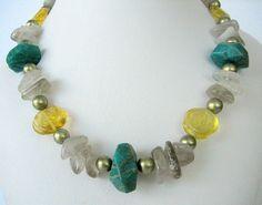 Necklace  Russian Amazonite  Yellow Fluorite by Jewelsforhealing, $69.00
