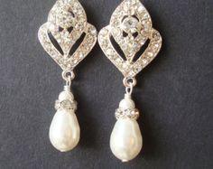 Boda de joyería, pendientes de Novia de estilo Art Deco, pendientes de perla de la boda, joyería nupcial estilo Vintage, pendientes del Rhinestone, IVANA