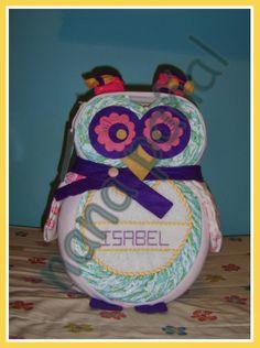 PAÑALES PARA REGALAR: Búho de pañales para Isabel