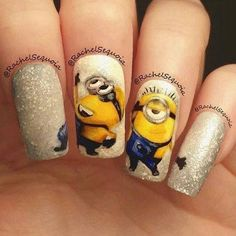 Atractivas uñas decoradas con personajes minions   Moda y Tendencias