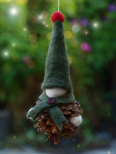 Handmade Christmas Gnome Ornament | There is a special kind of magic that radiates from a DIY Christmas ornament - like the effort and love that went into making it is shining forth.