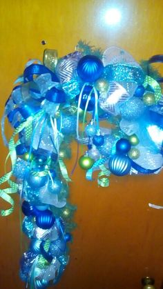 Shades of blue & lime green candy cane Christmas wreath..12.04.15