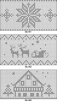 Hiver Noël Montagne Winter Christmas Mountain In Blue White Or Red And White? Crochet Chart, Filet Crochet, Crochet Patterns, Cross Stitching, Cross Stitch Embroidery, Cross Stitch Patterns, Cross Stitch Heart, Modern Cross Stitch, Knitting Charts
