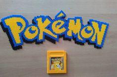 Pokemon logo hama beads by pixelbeadpictures