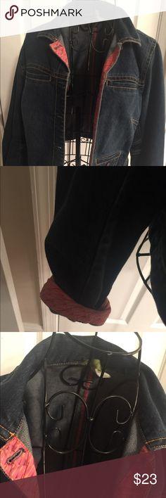 Sigrid Olsen jean jacket Medium Good condition. jean jacket with pink patterned details. Sigrid Olsen Jackets & Coats Jean Jackets