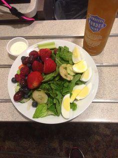 Hard boiled eggs (P) Vinaigrette (F) Fresh fruit and veggies (C)!