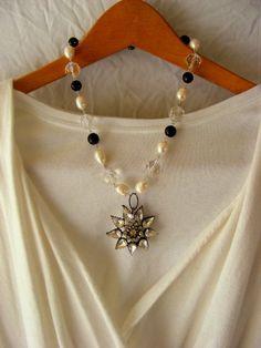 Vintage Rhinestone Pearls and Onyx~