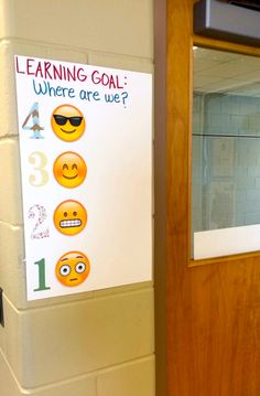 Emoji Lesson Scale - Relatable and current. Students leave a post-it note next to a number/face to rate their understanding as they leave class.