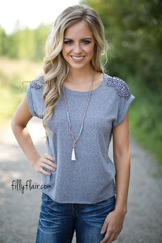 Let Your Love Shine Top in Grey