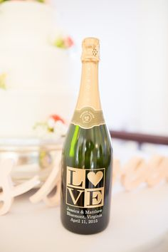Personalized Gold 'Love' Champagne Bottle