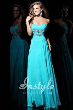 strapless turquoise chiffon long prom dress with beaded waistline and sweetheart neckline