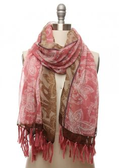 Barely There Batik Scarf in Beige-Strawberry