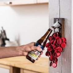 DropCatch Magnetic Bottle Opener and Cap Catcher (Porter - 70 Caps) The DropCatch wall mounted magnetic bottle opener has become a top choice among homeowners Magnetic Bottle Opener, Bottle Cap Opener, Wall Mounted Bottle Opener, Beer Opener, Barbecue, All Beer, Magnetic Wall, American Walnut, Wood Gifts