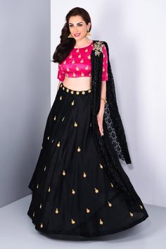 Here is the Fancy Lehenga Choli by Sai Silk Ideal for Parties and festivals. Our Lehenga Choli are Made and stitched using high grade fabric,. Half Saree Designs, Lehenga Designs, Blouse Designs, Churidar Designs, Pakistani Dresses, Indian Dresses, Indian Outfits, Indian Anarkali, Ethnic Outfits