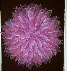 Dahlia Mesh Wreath Pink Dahlia Purple Dahlia by TriciasTreasures11