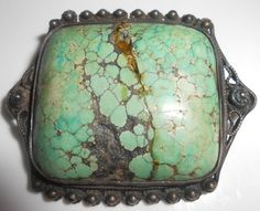 Sterling Spiderweb Turquoise Brooch Pin Circa by Libbysmomsvintage