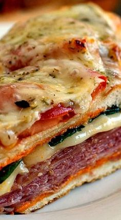 Loaded Italian Sub with Roasted Red Pepper Aioli - This incredible sandwich is part Italian Sub, part Panini and part pizza! Soup And Sandwich, Sandwich Recipes, Sandwich Appetizers, Sandwich Board, Italian Dishes, Italian Recipes, Stromboli Recipe, Calzone, Italian Appetizers