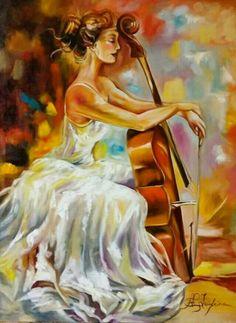Cello  Alma e Amor Pintura de Ana Paula Campos Teixeira  A P C. TEIXEIRA Beautiful Artwork, Princess Zelda, Painting, Oil, Fictional Characters, Art On Canvas, Fields, Headboards, Lady