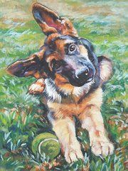 Sports Paintings - German shepherd pup with ball  by L A Shepard