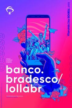 Lollapalooza Bradesco 2019 on Behance Web Design, Graphic Design Trends, Graphic Design Branding, Graphic Design Posters, Graphic Design Inspiration, Layout Design, Print Design, Creative Advertising, Advertising Design