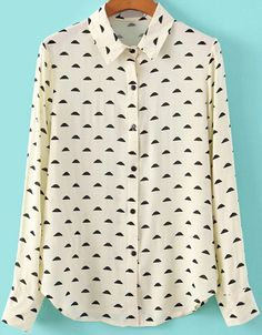 Buy White Lapel Long Sleeve Clouds Print Blouse from abaday.com, FREE shipping Worldwide - Fashion Clothing, Latest Street Fashion At Abaday.com