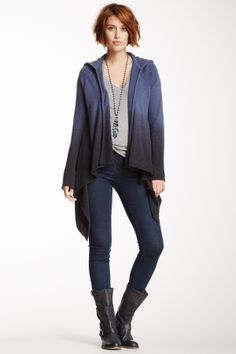 Ombre Asymmetrical Open Cardigan on HauteLook - I like the elements of this look.