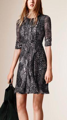 Burberry Graphic Print Silk Crepe Dress