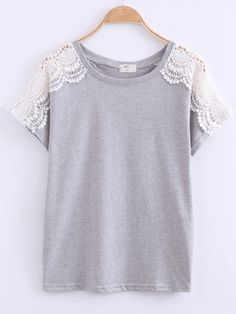 Shop Grey Lace Short Sleeve Loose T-Shirt online. SheIn offers Grey Lace Short Sleeve Loose T-Shirt & more to fit your fashionable needs. Diy Clothes, Fashion Clothes, Fashion Outfits, Womens Fashion, Casual Outfits, Cute Outfits, Diy Vetement, Lace Tee, Diy Lace Shirt