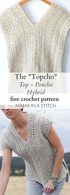 "The ""Topcho"" Easy Crochet Shirt Pattern via This beginner friendly crochet pattern is easy and includes picture tutorials. The ""Topcho"" Easy Crochet Shirt Pattern via This beginner friendly crochet pattern is easy and includes picture tutorials. T-shirt Au Crochet, Poncho Au Crochet, Pull Crochet, Crochet Shirt, Crochet Jacket, Crochet Woman, Crochet Crafts, Crochet Projects, Diy Crafts"
